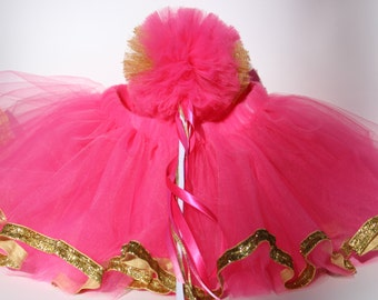 Girl Gift Set Pink and Gold Princess Costume Tutu with Whimsy Wand, Size 2 Thru 6