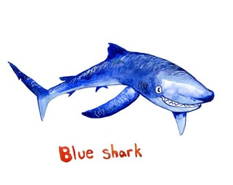 Blue shark watercolor print, sharks, toothy grin, wall art, decor, ocean art, ocean, painting, illustration, kids, nautical, science