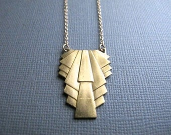 Goldie. Art Deco Necklace, Geometric Brass Pendant on 14K Gold Filled Chain