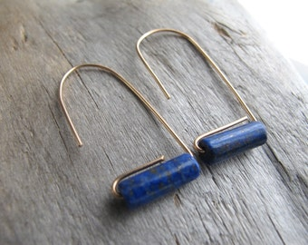 Lapis Tube Bead Earrings, Bronze Arch Dangle Earrings, Geometric Minimalist Earrings
