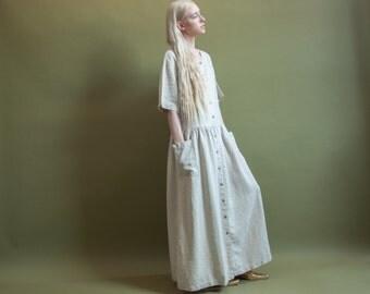 beige linen oversized babydoll dress / babydoll dress / maxi dress / m / 1845d / B1