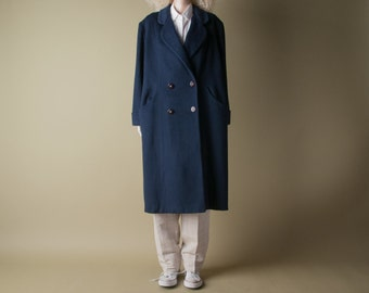 djuna midnight blue oversized coat / menswear style coat / long coat / m / l / 827o