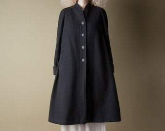 parsons black wool swing coat / black minimalist coat / flared coat / m / l / 838o