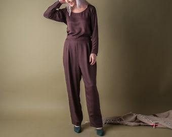 andante silk lounge pant set / matching set / brown baggy pants / s / 1165t