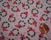 QUARTER yard VINTAGE fabric TINY wreath doll dress making Blythe