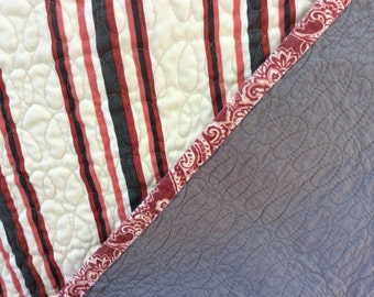 Large quilted throw -- red and grey stripes --  whole cloth quilt -- cotton