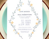 Long Bouquet Wedding Invitations 50 - Flowers Wedding Card - Recycled Paper