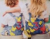 Barnyard Farm EIEIO Hand Painted Birthday themed GIRLS overalls