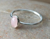 Oval Rose Quartz Stacking Ring in Sterling Silver, Size 2 to 15, Pink Ring, Womens Jewelry, Gift for Her, Gemstone Ring, Small Stacking Ring