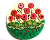 HALF PRICE SALE Fields of Summer felt brooch pin with freeform embroidery - scandinavian style