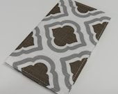 Checkbook Cover - Gray Brown Geometric Fabric