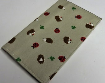 Checkbook Cover Case Cheque Coupons Money Holder - Hedgehogs Ladybugs 3 Leaf Clovers Fabric