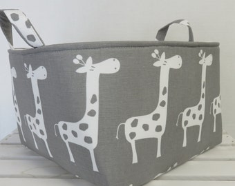 Gisella Giraffe - White on Storm Gray / Grey - Large Diaper Caddy Storage Container Basket Organizer Bin - Nursery Decor - 1 Divider