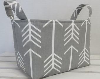 Organizer Storage Fabric Bin Basket Bucket Container Organization - White Arrows on Gray - Tribal Aztec