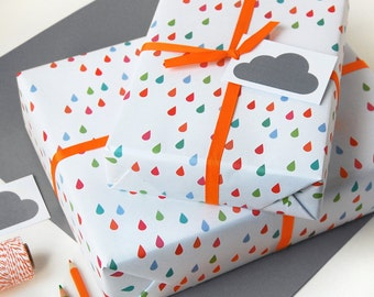 Carrots and rabbits wrapping paper set bunny gift wrap raindrop wrapping paper set illustrated gift wrap quirky eco friendly paper cloud wrapping negle