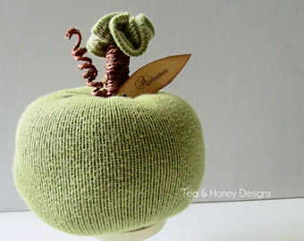 Sweater Pumpkin Autumn Decor Green Apple Upcycled Recycled -4-