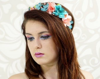 Woodland Bridal Crown, Coral Pink and Sky Blue, Flower Crown, Bridal Headpiece, Bohemian, Bridesmaid Headpiece, Hair Wreath, Floral Circlet