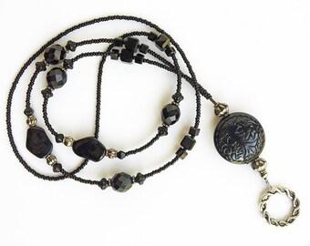 Noire - beaded badge lanyard - black, gunmetal and silver glass beaded ID badge lanyard necklace for teacher nurse gift