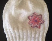 White beanie - child hat size 3-6 with vintage patch