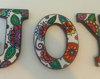 JOY whimsical unique large hand painted wooden wall letters