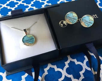 Map Cufflinks and Necklace Set Bride & Groom Solid Sterling Silver Made to Order