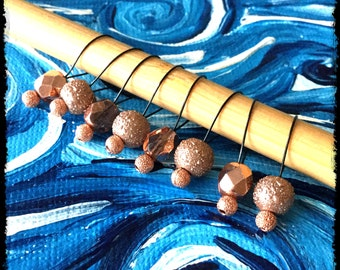 Snag Free Stitch Markers Medium Set of 8 - Copper and Brown Glass Pearls - M53 -- For up to size US 11 (8mm) Knitting Needles
