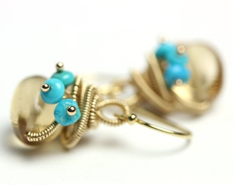 Champagne Citrine Earrings. Sleeping Beauty Turquoise Clusters and Gold Fill Coils