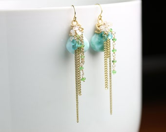 Long Larimar, Rainbow Moonstone and Emerald Earrings. Gold fill and Solid 14k Gold.