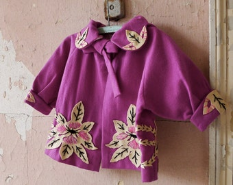 1920s Rare Hand Made Flapper Baby Girl Orchid Jacket and Hat