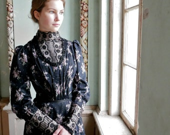 Victorian Floral Trained Two Piece Gown