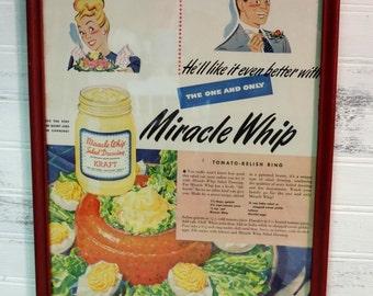 Framed Vintage 1948 Miracle Whip Magazine Advertisement, Retro Kitchen Decor, Kitsch Decor