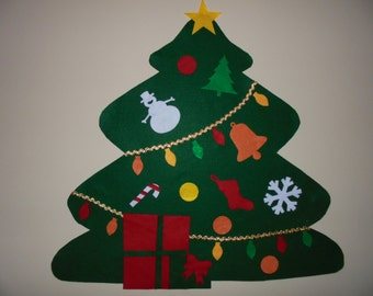 Felt Christmas Tree, BIGGEST SALE YET, Kid's Gift, Children Can Decorate, Children's Christmas Tree with Ornaments, Preschool Activity