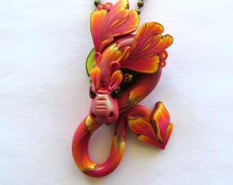 Sunset Dragon Necklace, Fairy Rider, Miniature Polymer Clay Dragon Pendant
