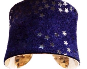 LAST ONE! Ink Blue Suede Star Printed Cuff Bracelet - by UNEARTHED