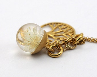 Mini Dandelion Necklace, Gold Plated Silver Pendant, Resin Jewellery
