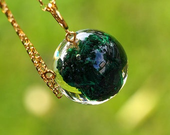 Resin Necklace with Malachite, Gold Plated Sterling Silver, Resin Jewelry