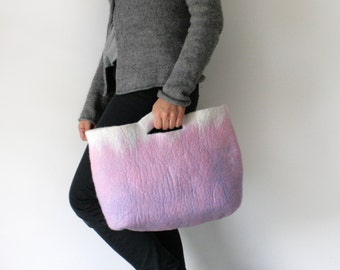SMALLER Pink Cobalt Sturdy Everyday Art Bag / Carryall / Tote / Basket / Shopping / Market / Picnic / Hand felted wool / Wearable Art