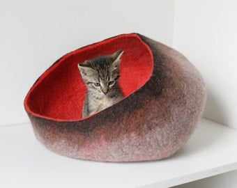 Pet / Dog / Cat Bed / Cave / House / Vessel - Hand Felted Wool - Poppy Red Brown - Crisp Contemporary Design