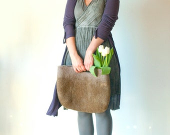 SMALLER Olive Rusty Sturdy Everyday Art Bag / Carryall / Tote / Basket / Shopping / Market / Picnic / Hand felted wool / Wearable Art