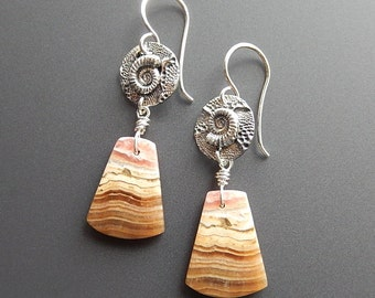 Silver Ammonite Fossil and Rhodochrosite Drop Earrings OOAK with Handmade Sterling French Earwires