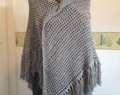 Slate Grey/Gray Crochet Evening Shawl-Cruise-Party-Wedding-Wrap-Cape-Fichu-Ready to Ship