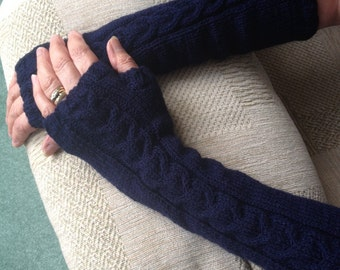ARMWARMERS/FINGERLESS GLOVES/Navy blue extra long knitted cabled arm warmers- women's fingerless gloves- Ready to Ship