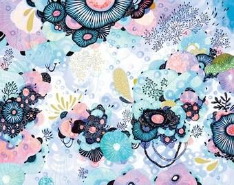 Art Print, Watercolor Print, Wall Art, Botanical Print, Abstract Print, Giclee Print, Home Decor Art Print - Blue Amble