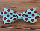 Mens Bow Tie - Soft Turquoise blue and Bright Red Dot Print Cotton Bowtie - bow tie for men, teen boy - mens wedding bow tie - mens blue tie