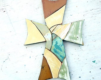 Large Wall Cross, Wooden Mosaic Cross, Reclaimed Wood Art, Recycled Wood Cross, Religious Wall Art, Christian Decor, Country Decor