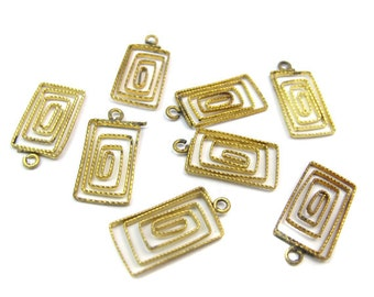 Vintage Rectangle Spiral Filigree Charms (6X) (V222)