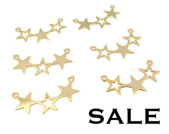 LOW Stock - Vintage Gold Plated Star Pendants (8X) (V336) SALE - 25% off