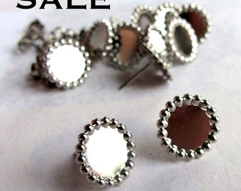 Rhodium Plated Cabochon Pad Stud Findings (24 Pairs) (F558) SALE - 25% off
