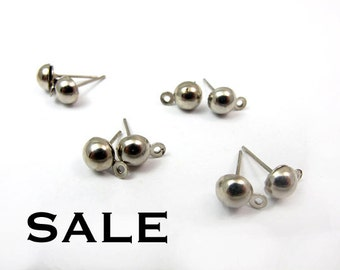 Rhodium Plated Round Dome Earring Post Findings (20 pairs) (F603) SALE - 25% off