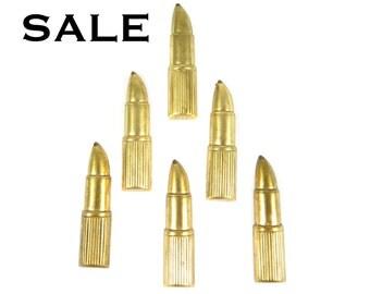Raw Brass Lipstick Charms - (V282) (10x) SALE - 50% off
